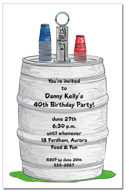Beer Keg Party Invitations, Beer Birthday Party Invitations