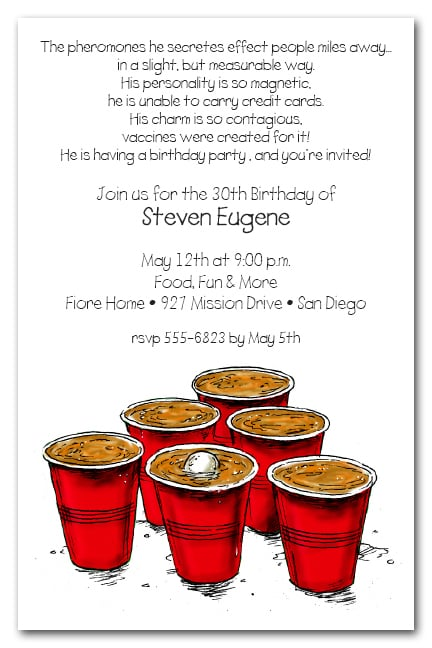 Beer Pong Party Invitations