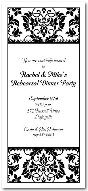 black white damask invitations