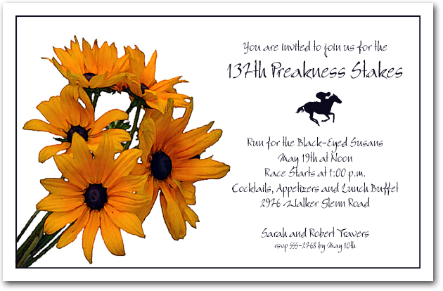 Preakness Black Eyed Susans Party Invitations