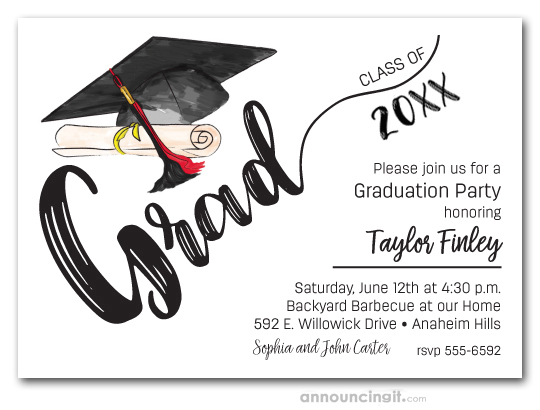 Black Red Tassel On Black Grad Cap Graduation Party Invitations