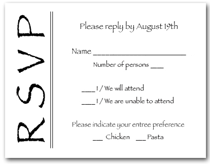 Black On White Rsvp Cards Reply Cards Response Cards