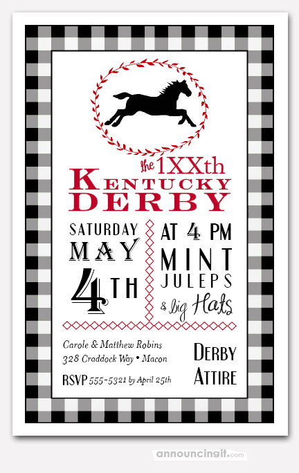 Black Check Derby Party Invitations Horse Racing Invitations