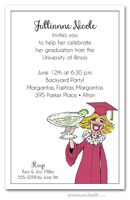 Blonde girl margarita college graduation party invitations blonde margarita graduation filmwisefo