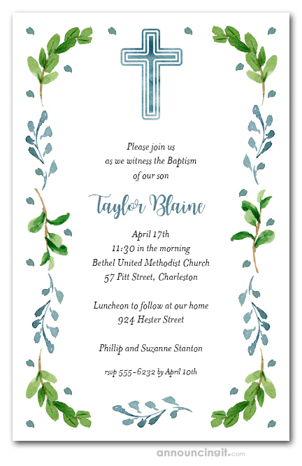 blue cross leaves buds first holy communion invitations