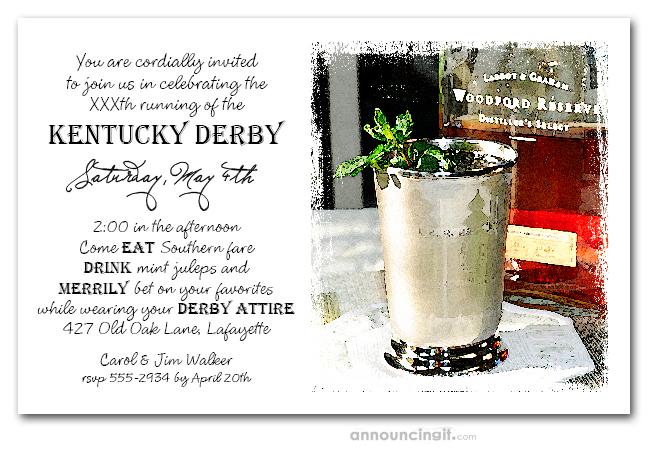Bourbon Mint Juleps Kentucky Derby Party Invitations