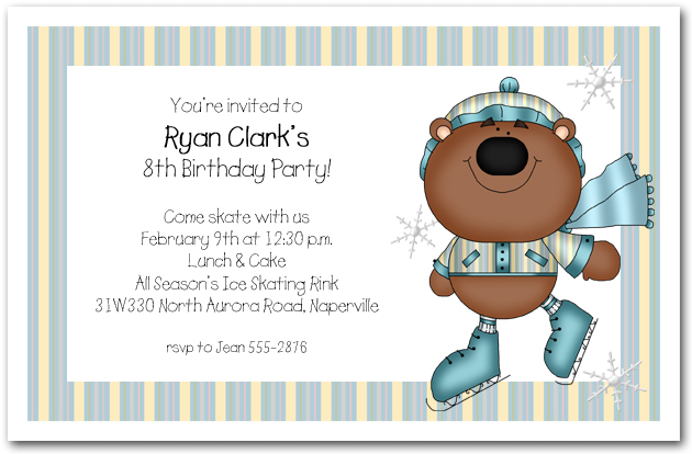 Boy Bear on Ice Skates Party Invitations Birthday Party Invitations