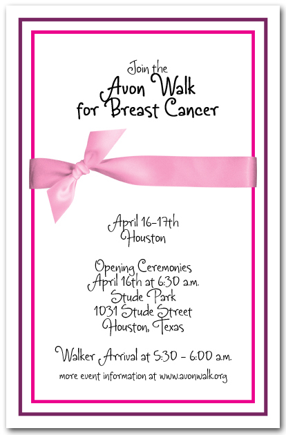 breast cancer pink ribbon invitations