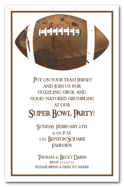 Football Grunge Super Bowl Party Invitations