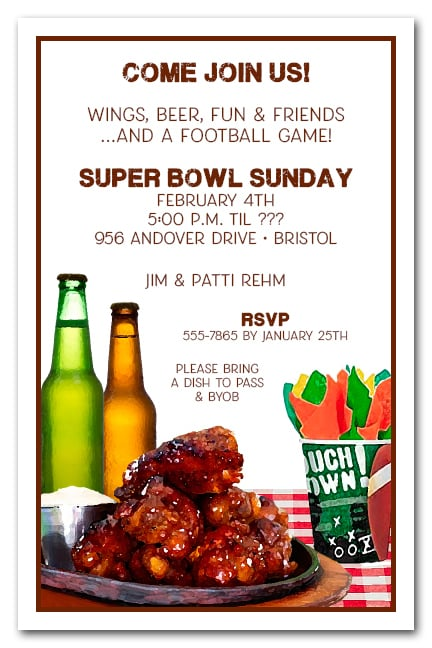 Buffalo Chicken Wings Super Bowl Party Invitations
