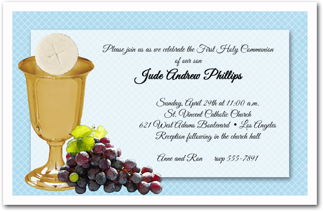 Chalice Wafer Grapes Boys First Communion Invitations