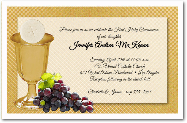 Chalice Wafer Grapes First Communion Invitations