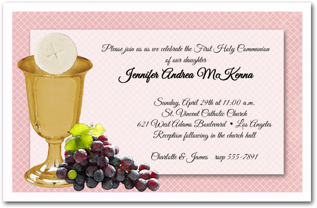 Chalice Wafer Grapes Girls First Communion Invitations