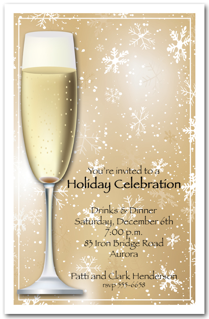 champagne on gold snowflakes holiday invitations