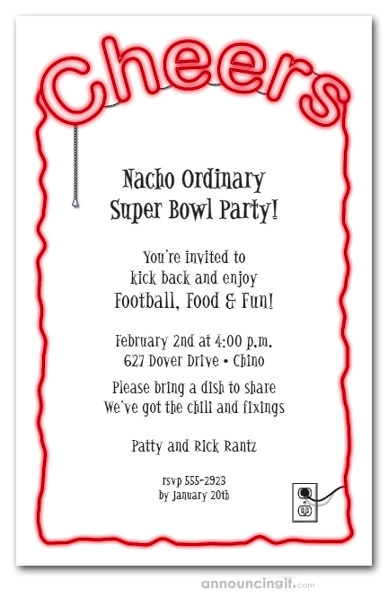 Cheers Red Neon Sign Super Bowl Party Invitations