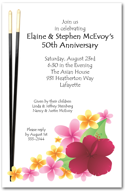 asian invitations  chopsticks and tropical flowers invitations