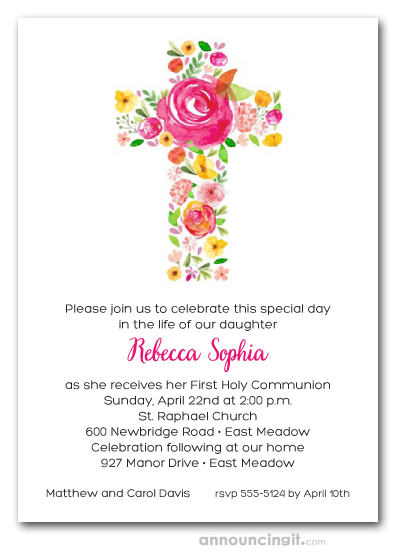 cross of flowers pink first holy communion invitations