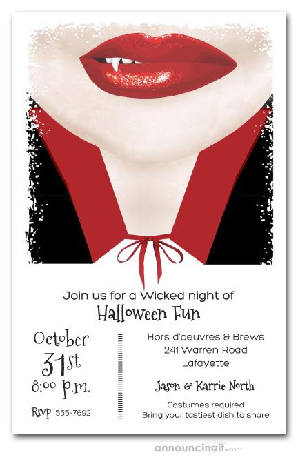Vampire Smile Halloween Costume Party Invitations