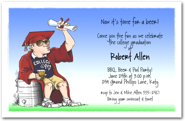 college grad keg party invitation fun graduation party invitation