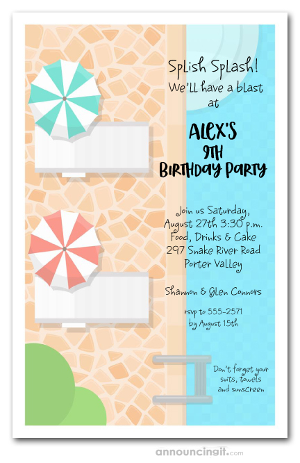 Pool Deck Swim Party Invitations