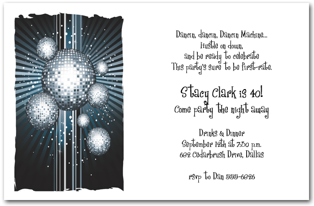 Midnight Disco Balls Party Invitations - Disco birthday invitation templates free