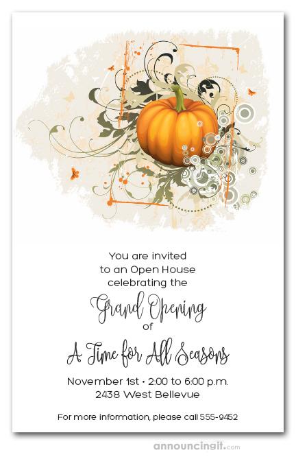 Elegant Autumn Pumpkin Invitations