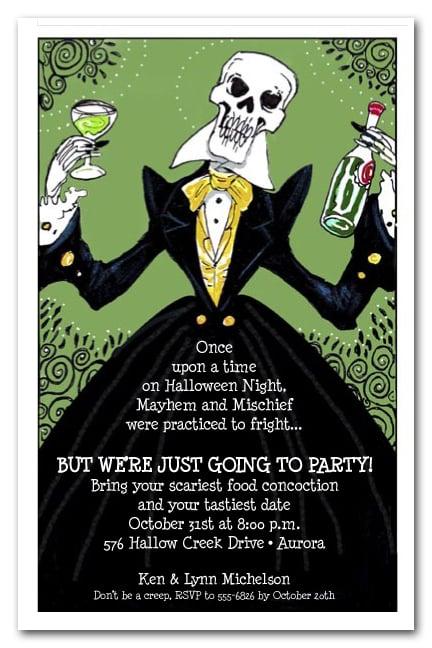 elegant skeleton halloween invitations