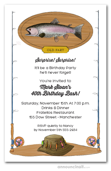 Fish On A Plaque Fisherman Theme Party Invitations