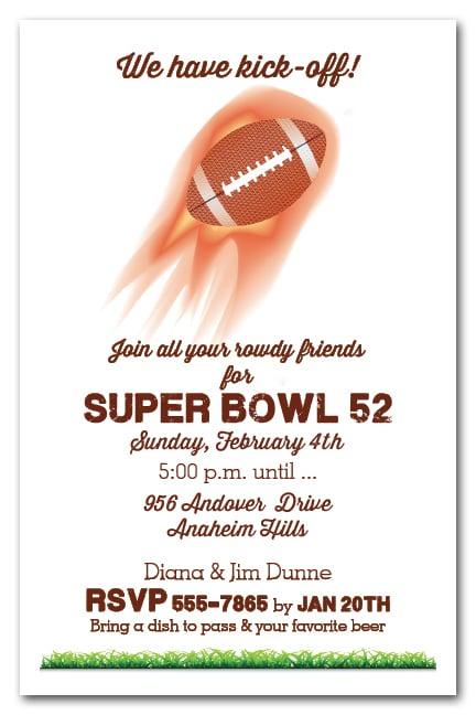 Flaming Football Super Bowl Party Invitations