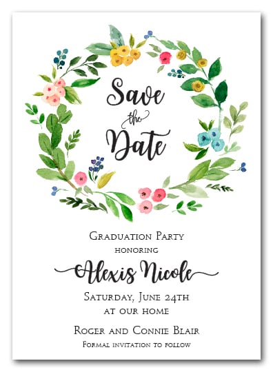 Donna Floral Wreath Save the Date Cards, Wedding Save the ...