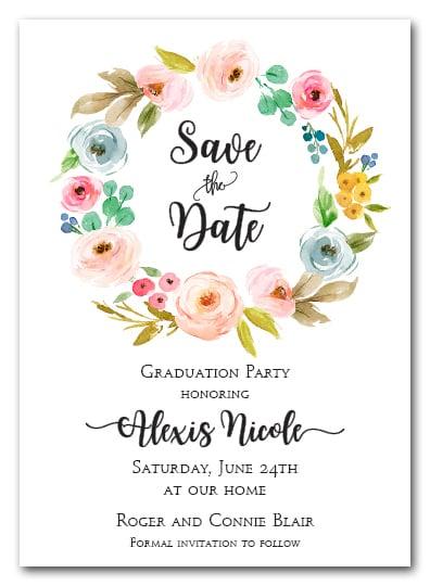 Faith Floral Wreath Save The Date Cards Wedding Save The