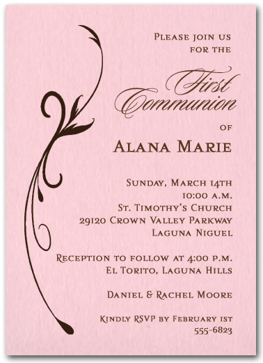 Flourish on Pink Girl Christening Invitations, Baptism ...