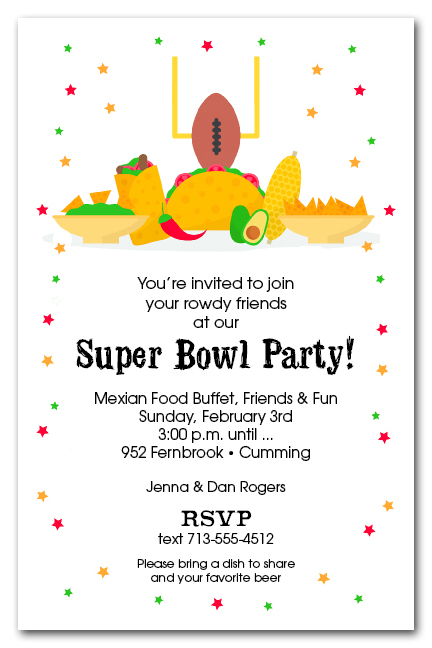 mexican food and taco bar super bowl party invitations