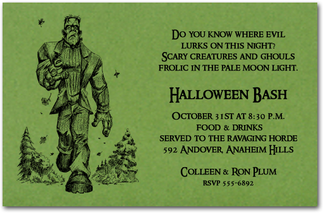 frankenstein is coming halloween party invitations