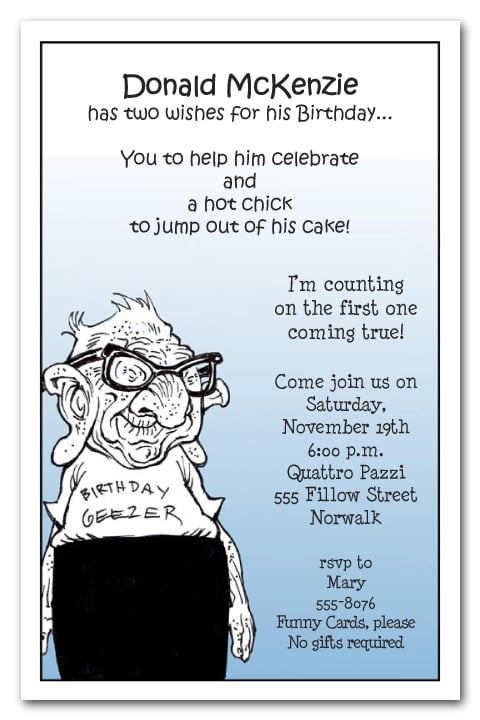 Geezer Guy Birthday Party Invitations Over The Hill Invitations