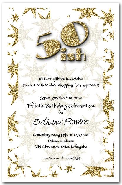 gold glitter birthday party invitations  50th birthday