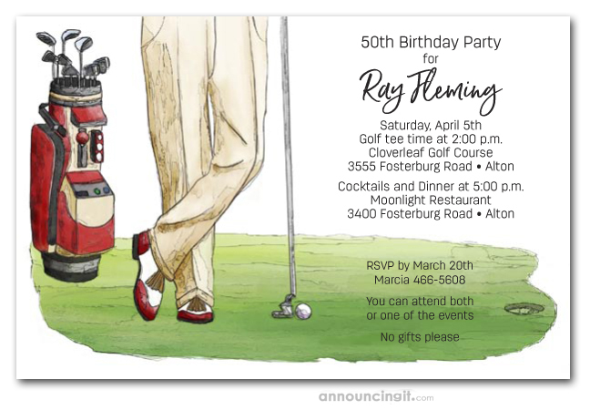 Golf Invitations Outing Party Theme