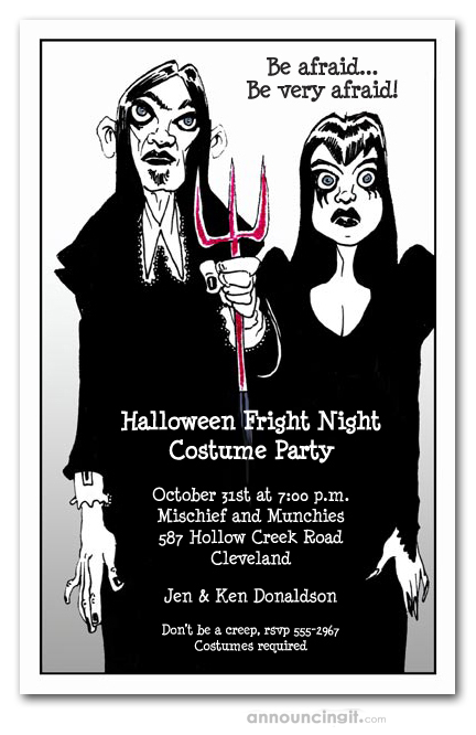gothic couple halloween party invitations