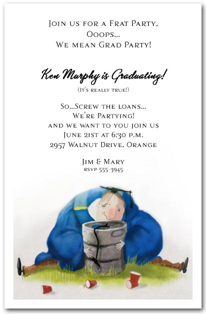 grad party not frat party graduation invitation  keg