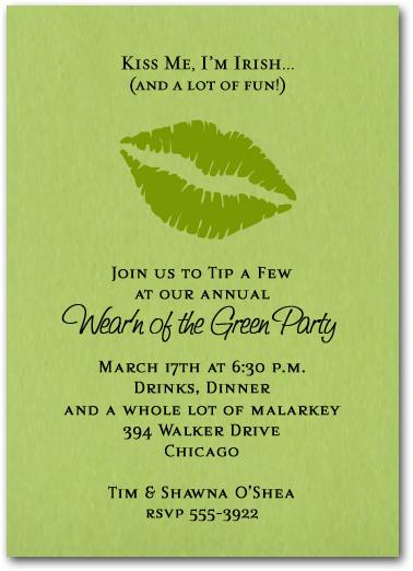 Kiss Me I'm Irish St. Patrick's Day Invitations