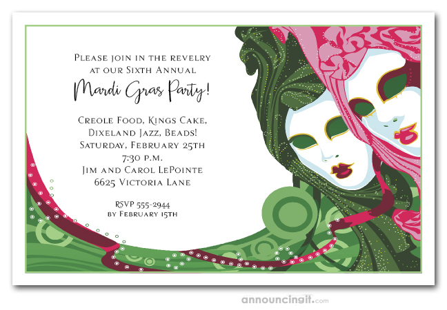 Green & Pink Masks Mardi Gras Party Invitations