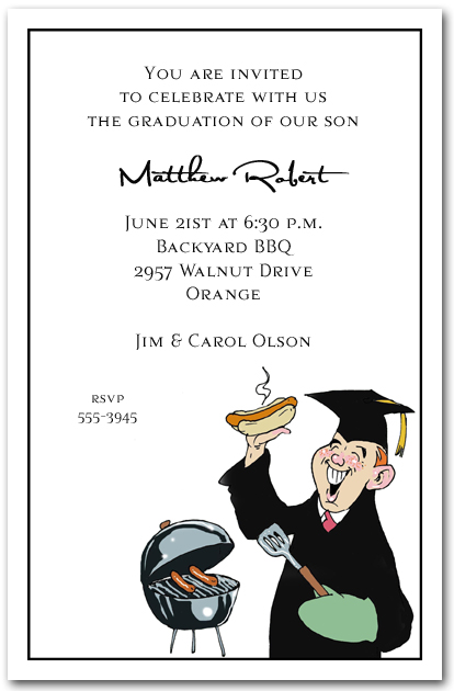 grilling grad party invitation graduation invitation