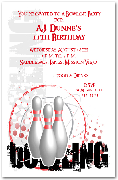 Grunge Sports Bowling Invitation Bowling Birthday Invitation