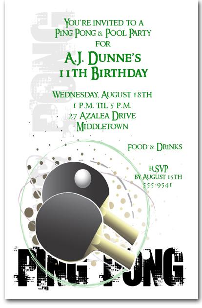 Grunge Sports Ping Pong Invitation, Ping Pong Birthday ...