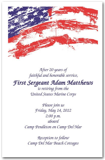usa flag invitations  4th of july invitations  military