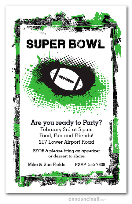 Grunge Football Super Bowl Party Invitations