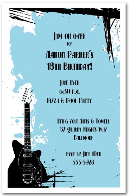 Guitar on blue grunge invitations rock and roll invitations filmwisefo
