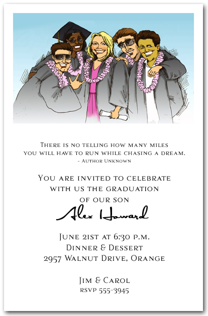 Fun Group Graduation Party Invitation Graduation Invitation
