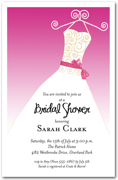 Hot Pink Ribbon Sash on White Gown Invitations Bridal Shower