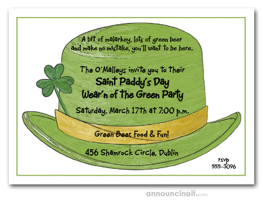 Irish Green Derby Hat St Patrick S Day Party Invitations